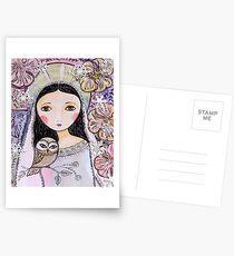 Christmas angel with owl Postcards