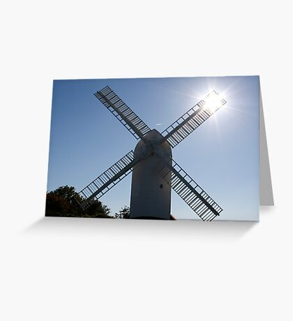 Windmill and sun rays Greeting Card