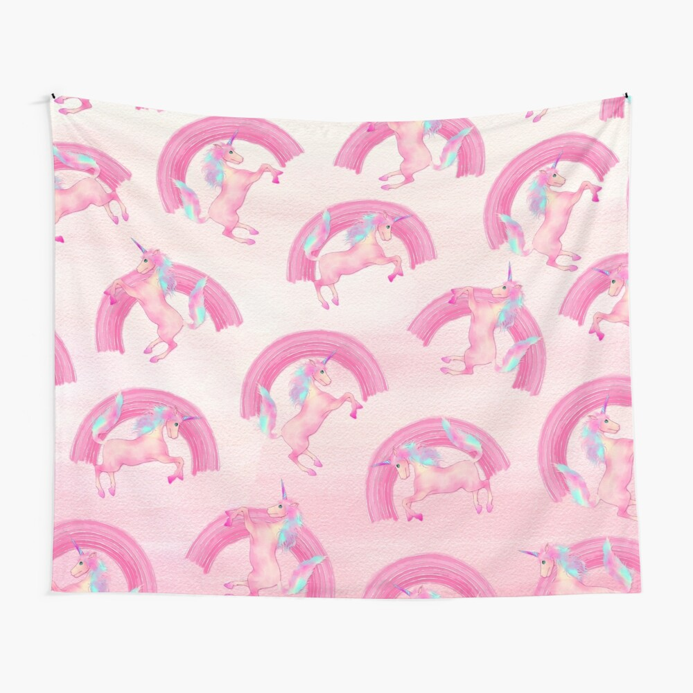 Cute Mythical Pink Unicorn Rainbow Watercolor Wall Tapestry
