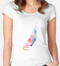 Sailboat in summer Women's Fitted Scoop T-Shirt