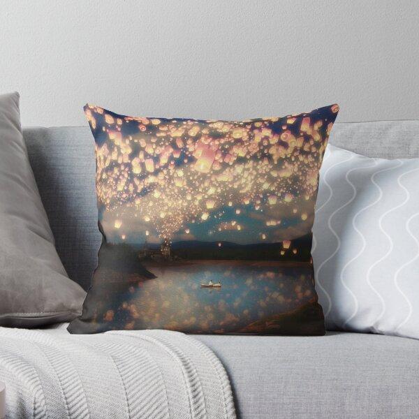 Wish Lanterns for Love Throw Pillow