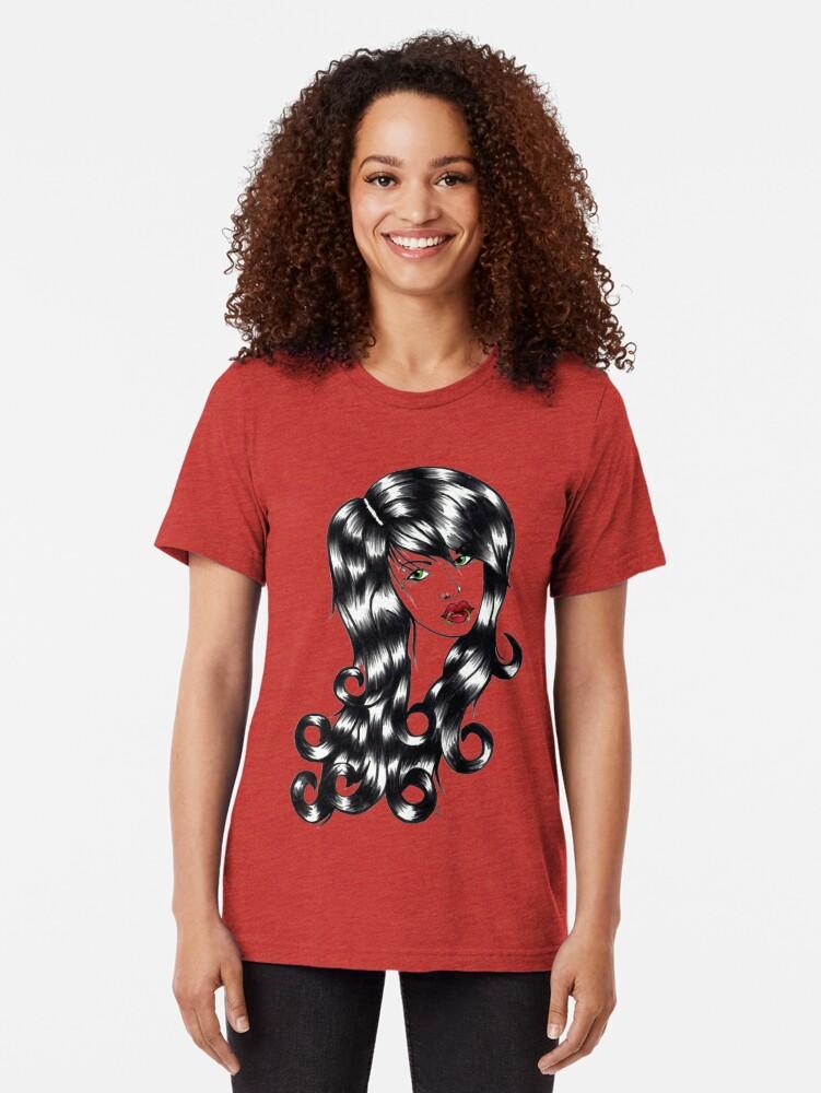 Alternate view of Blackwater girl - Lip rings Tri-blend T-Shirt