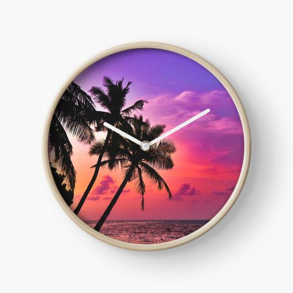 Beautiful Tropical Pink Sunset  Clock