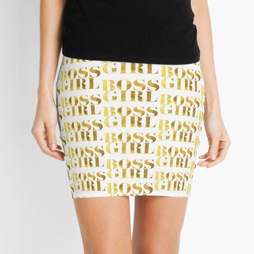 Girl Boss Faux Gold Foil Mini Skirt