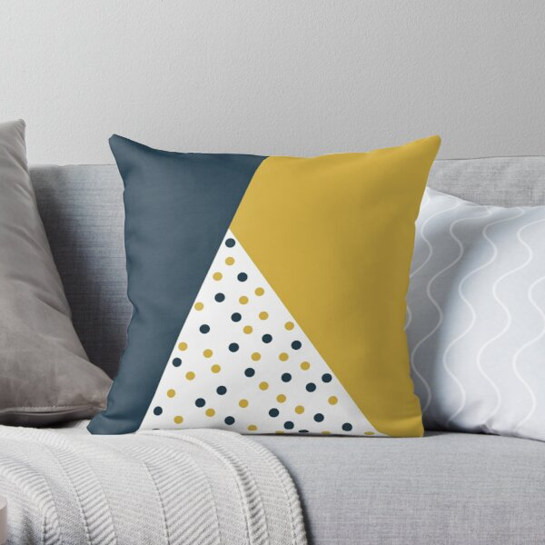 Dot Cascade: Cheerful Minimalist Angled Color Block Design in Light Mustard Yellow, Navy Blue, and White Throw Pillow