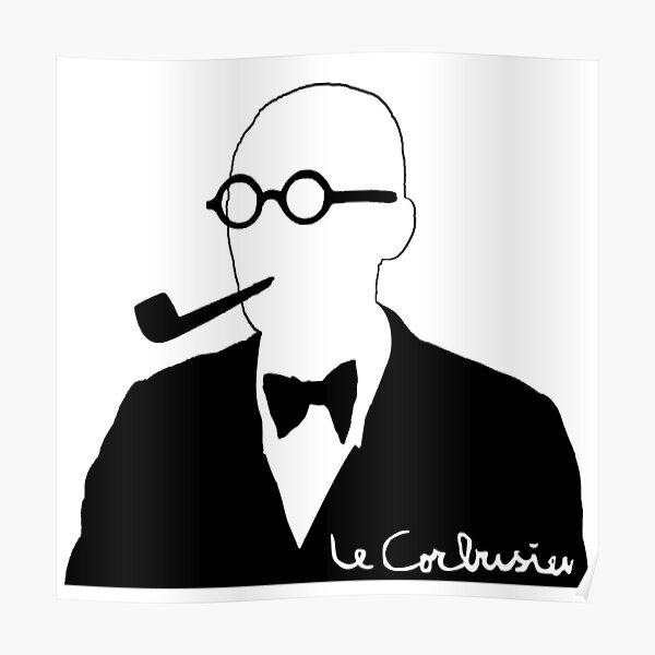 Le Corbusier en blanco y negro con firma Póster
