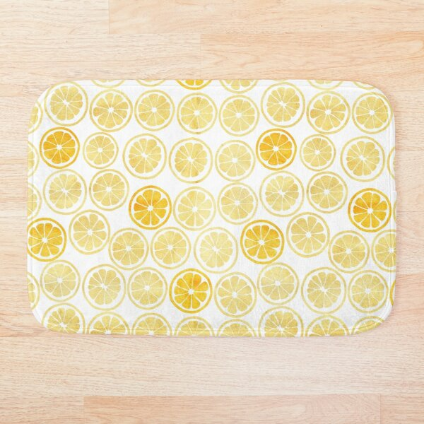Yellow Watercolor Lemon Slices Pattern Bath Mat