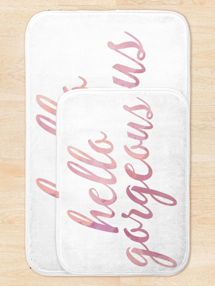 Alternate view of Hello Gorgeous in Pink Watercolor Bath Mat