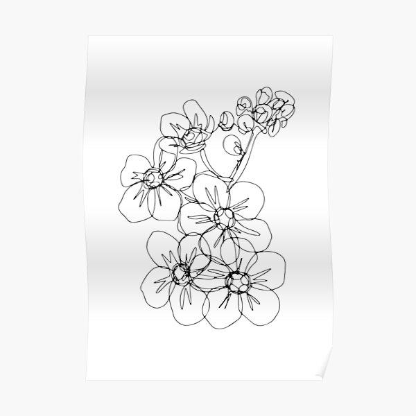 Minimalistic Black and White Flower | Boho Wild Flower Art Poster