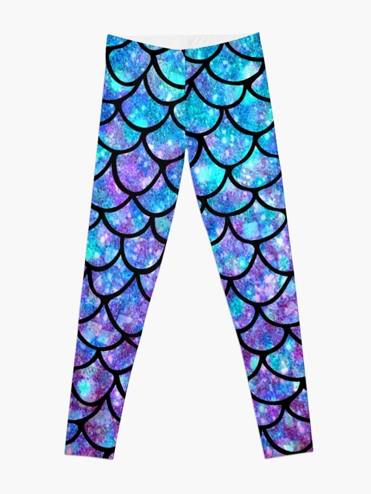Alternate view of Purples & Blues Mermaid scales Leggings