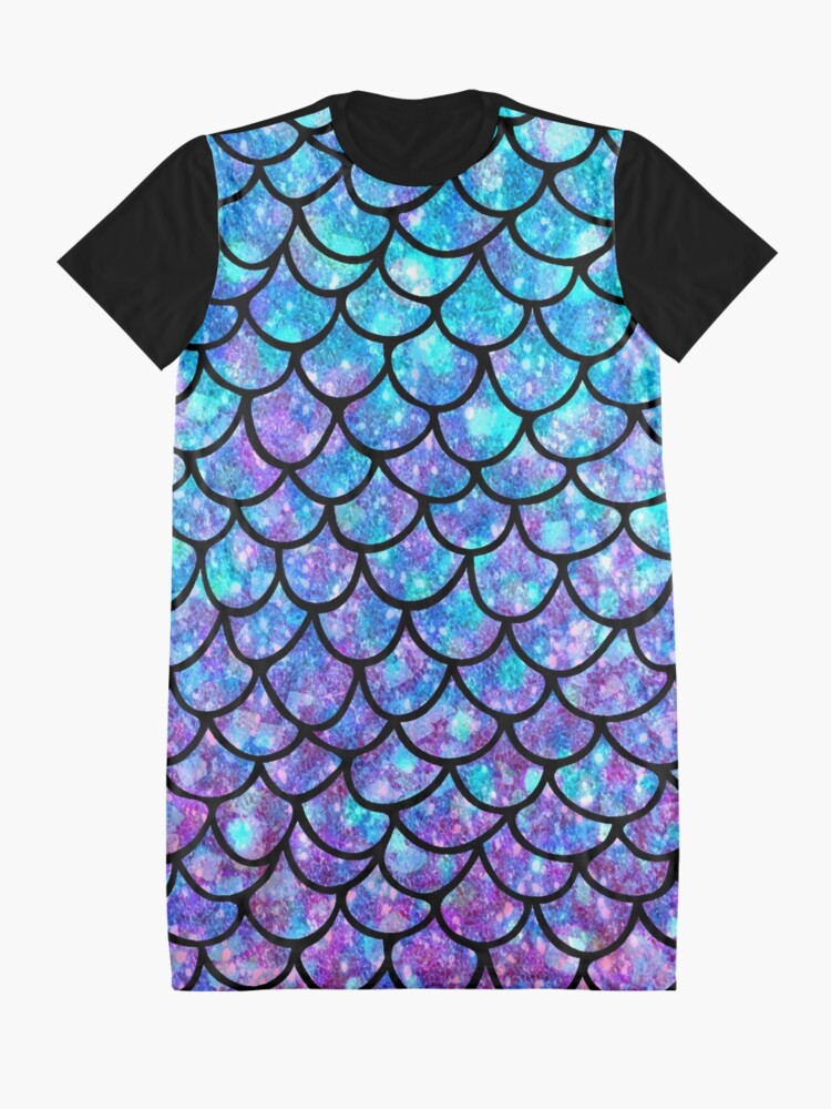 Alternate view of Purples & Blues Mermaid scales Graphic T-Shirt Dress