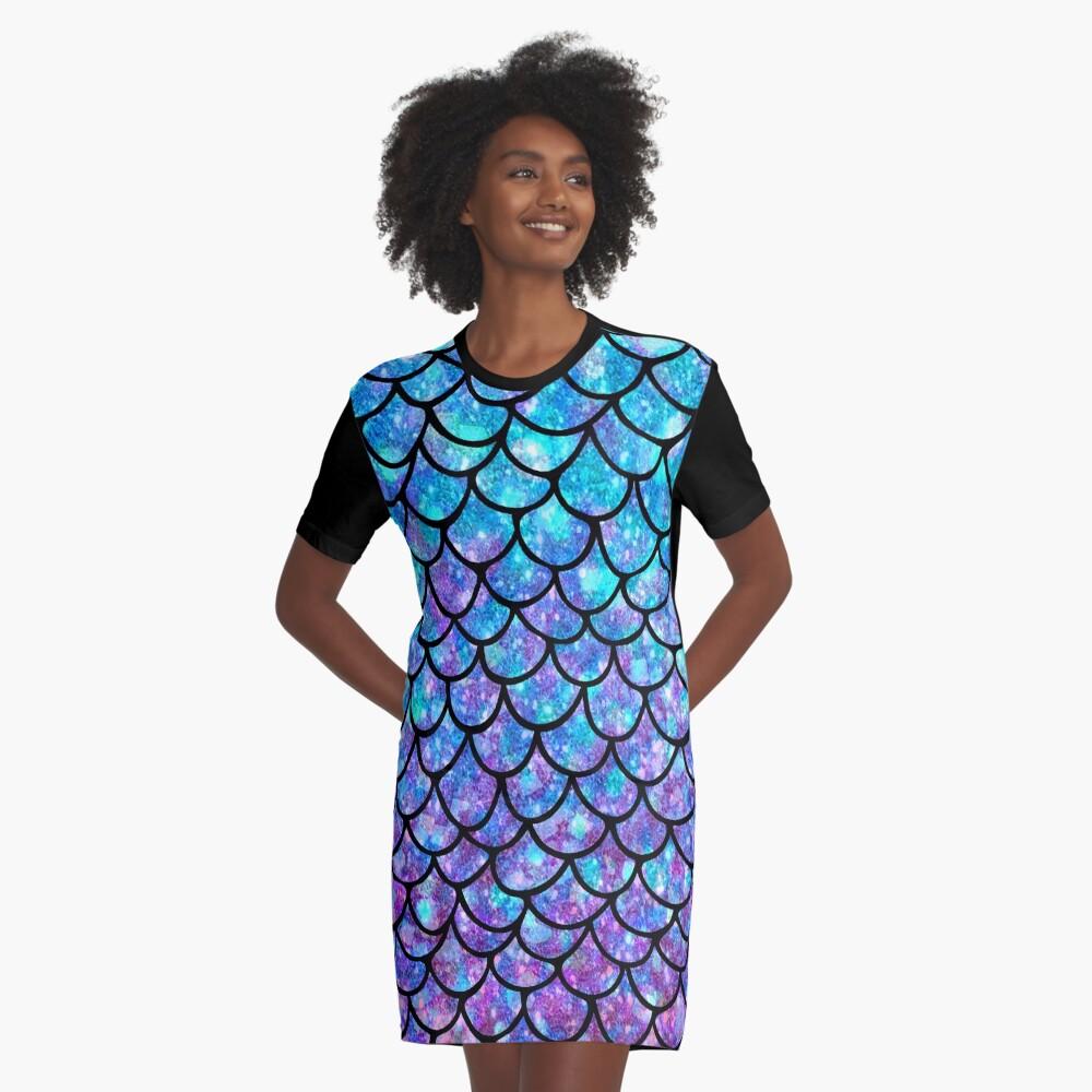 Purples & Blues Mermaid scales Graphic T-Shirt Dress