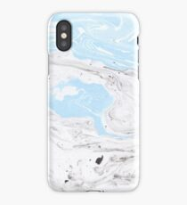 Suminagashi Love, Gray and Blue iPhone Case