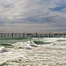 Letitia Beach & sand pumping jetty, Fingal NSW by Odille Esmonde-Morgan
