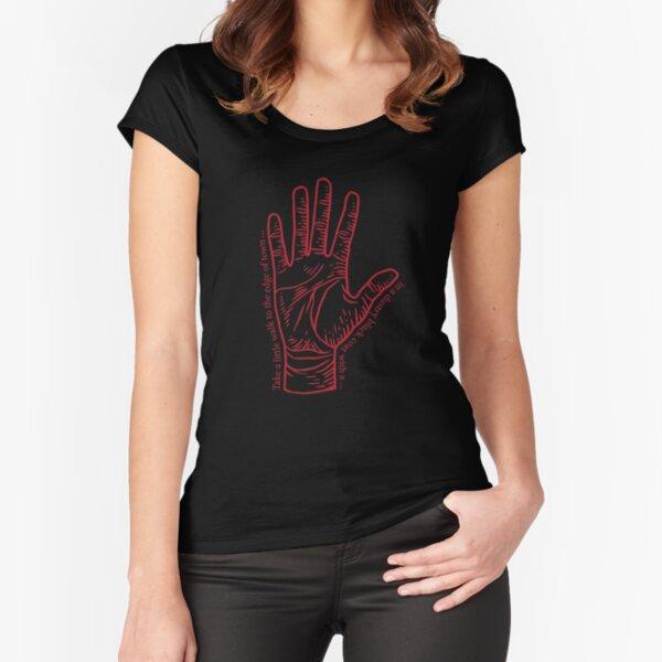 Main droite rouge avec paroles T-shirt échancré