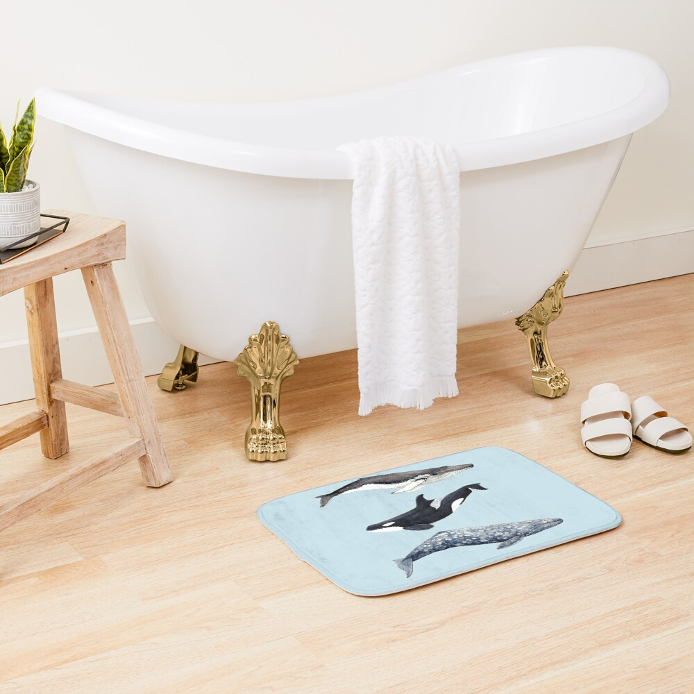 Orca, humpback and grey whale Bath Mat