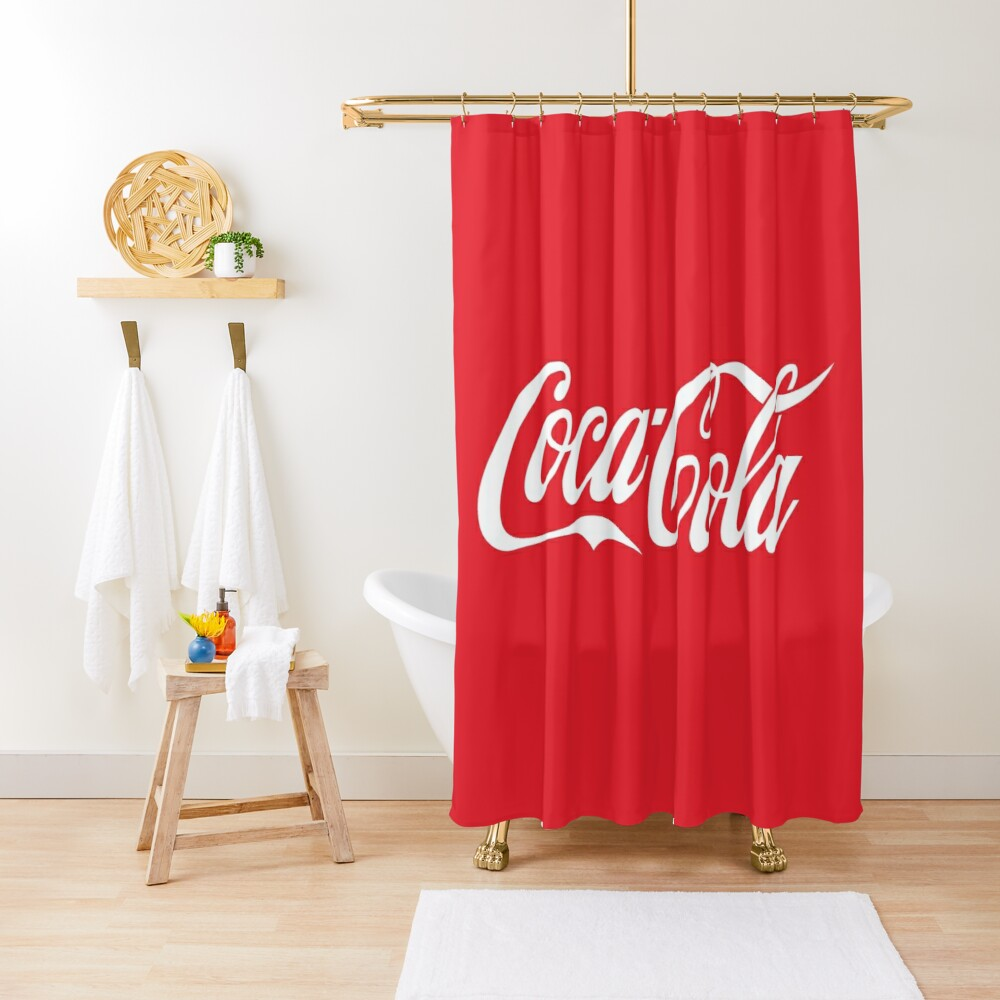coke shower curtain by milabs redbubble