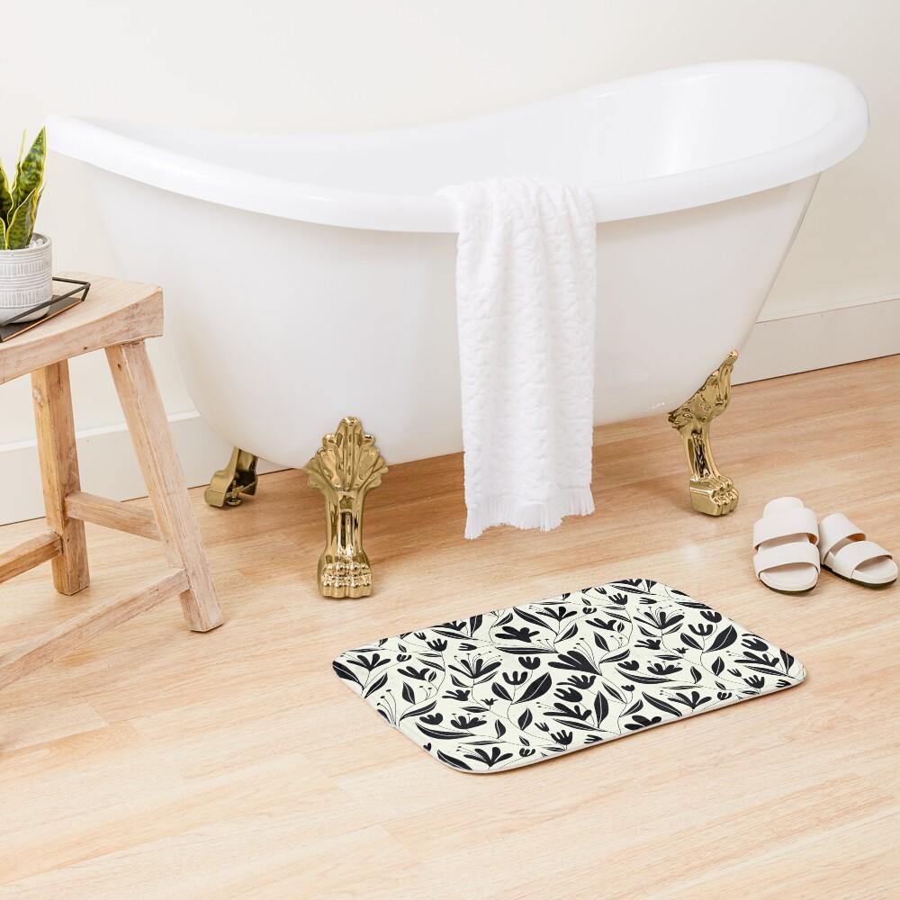 Black bloom Bath Mat