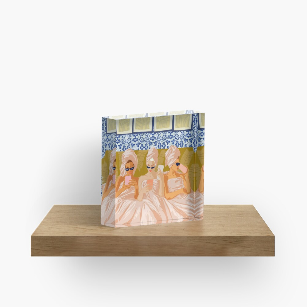 Ladies-Only Club #illustration #painting Acrylic Block