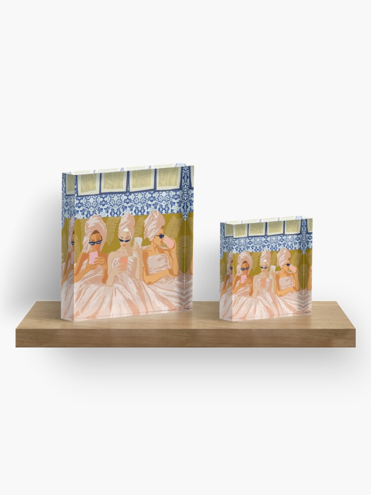 Alternate view of Ladies-Only Club #illustration #painting Acrylic Block