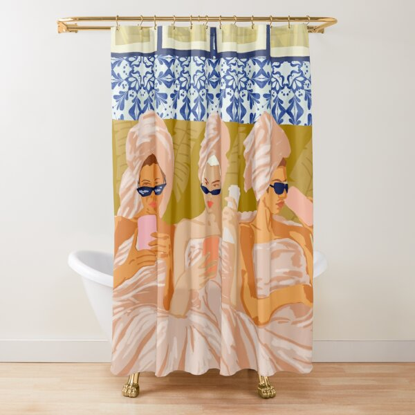 Ladies-Only Club #illustration #painting Shower Curtain