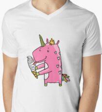 Unicorn and ice cream Men's V-Neck T-Shirt