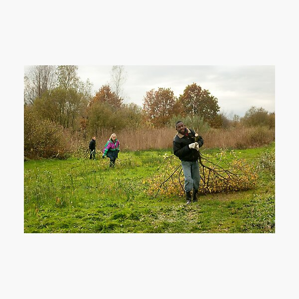 Young volunteers at work in nature Photographic Print