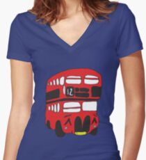 Cute London Bus Women's Fitted V-Neck T-Shirt