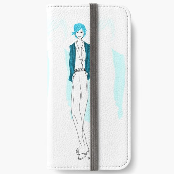Modezeichnung Blaue Lady iPhone Flip-Case