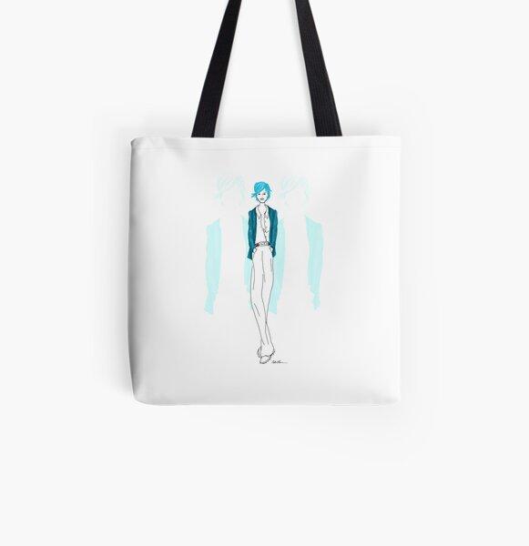 Modezeichnung Blaue Lady Allover-Print Tote Bag
