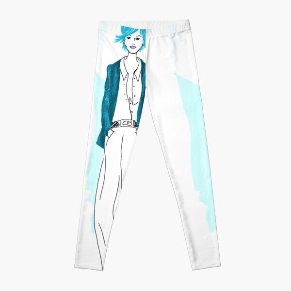 Modezeichnung Blaue Lady Leggings