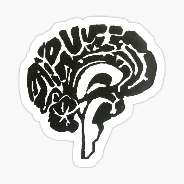 Neuroantomical Brain Woodblock Print Sticker