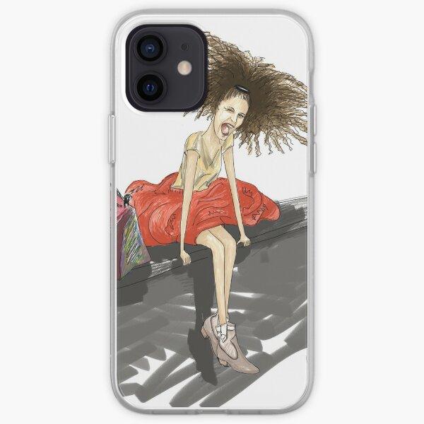 Modezeichnung einer Lady mit viel Haar iPhone Flexible Hülle