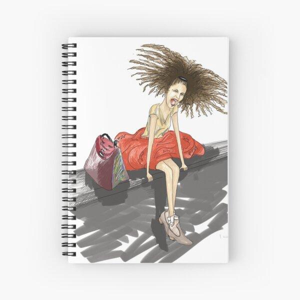 Modezeichnung einer Lady mit viel Haar Spiralblock