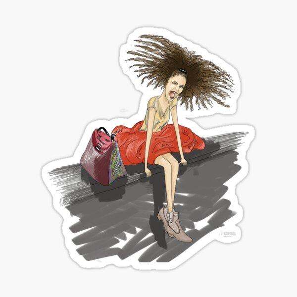Modezeichnung einer Lady mit viel Haar Sticker