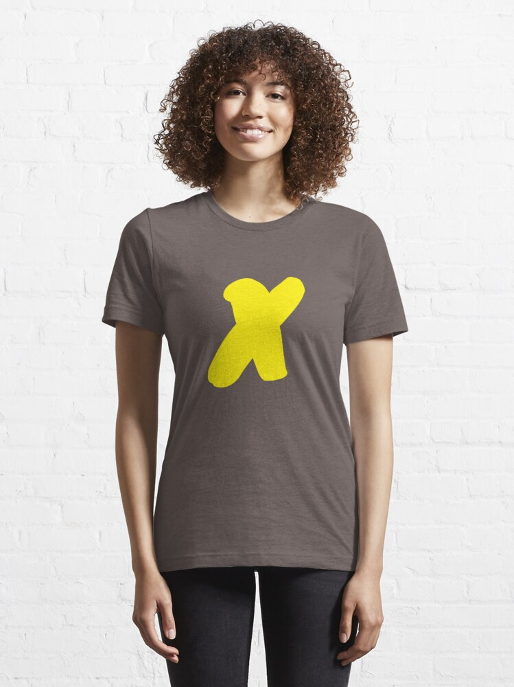 Alternate view of X - the t shirt and other swag. Nothing to it but a yellow X.  Essential T-Shirt