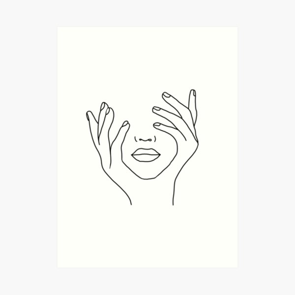 Outline of Person Resting Head on Hands Art Print