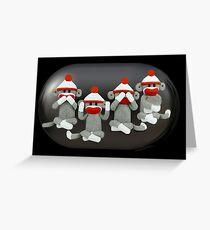 ☝ ☞ THE THREE MONKEYS PLUS ONE,MIZARU,MIKAZARU,MAZARU,& SHIZARU THE GOLDEN CARD/PICTURE ☝ ☞ Greeting Card