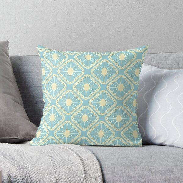 Pastel Blue and Yellow Mid-Century Modern Sunburst Tiles Throw Pillow