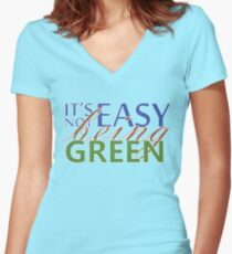 IT'S NOT EASY BEING GREEN Women's Fitted V-Neck T-Shirt