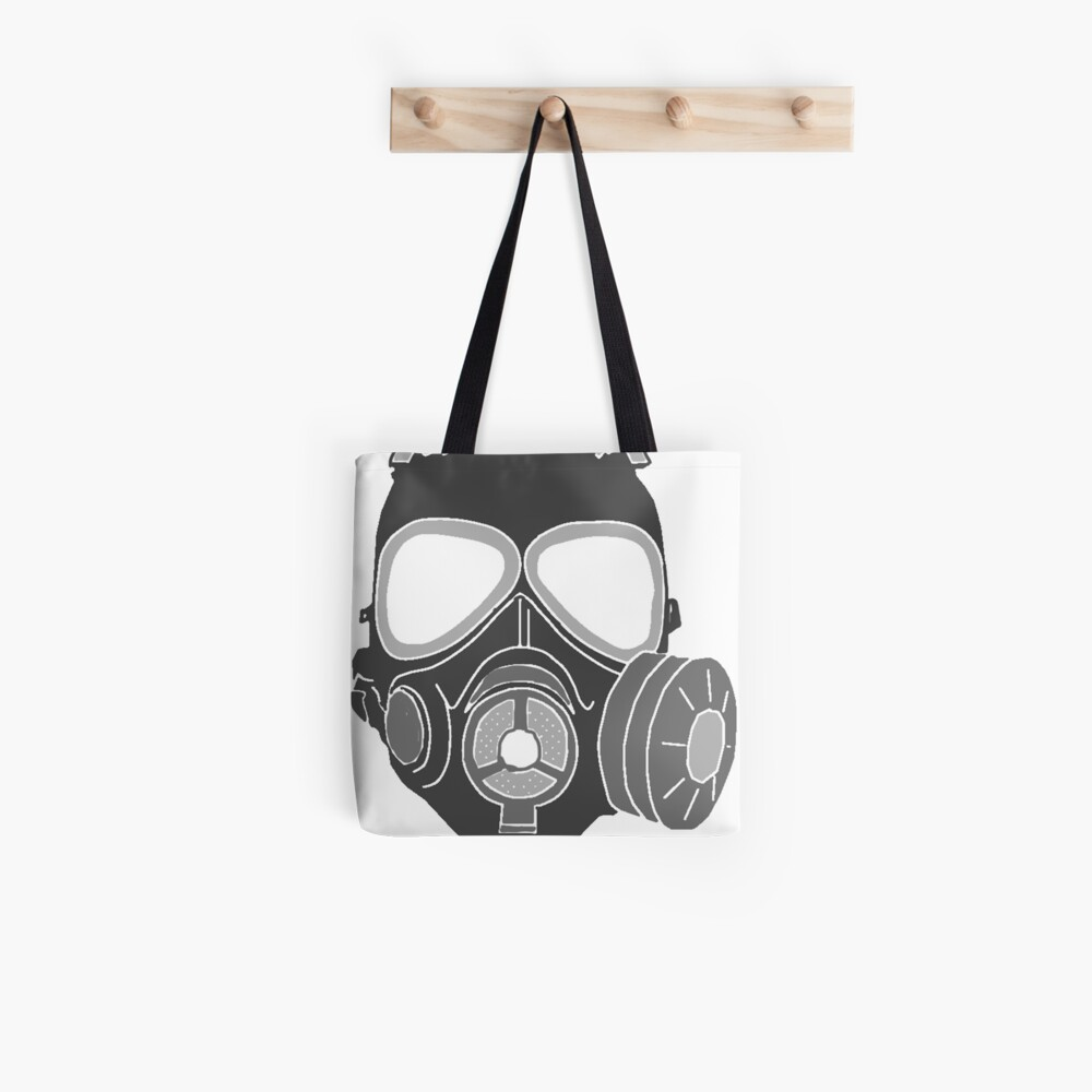 Graffiti gas mask tote bag
