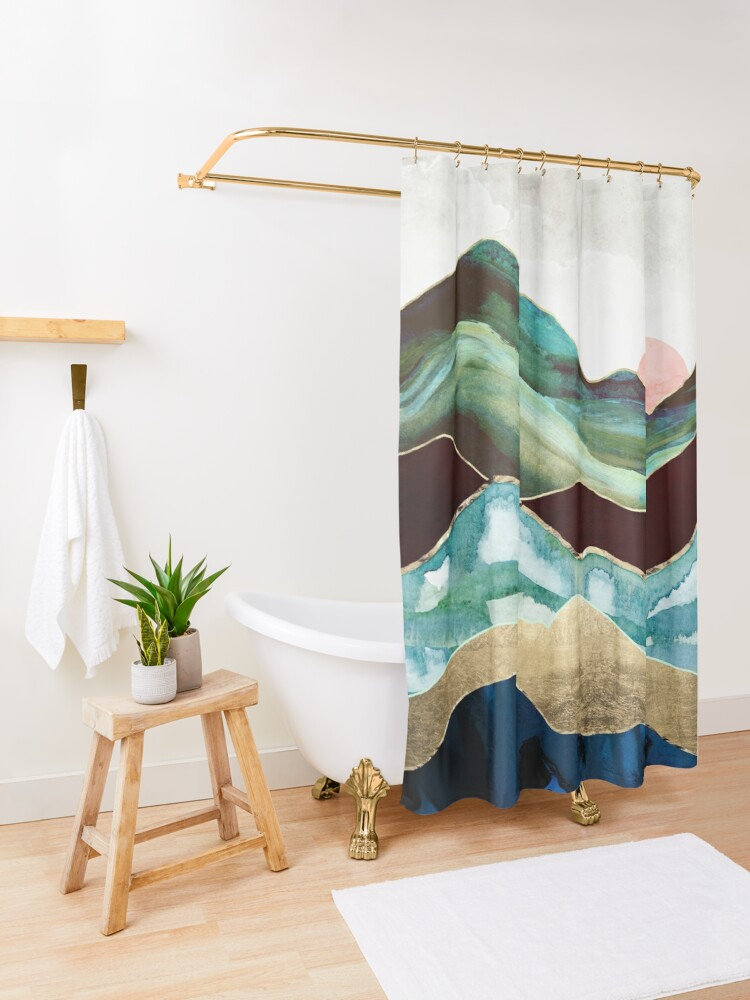 Alternate view of Velvet Mountains Shower Curtain