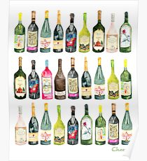 Cheers Wine Bottles  Poster