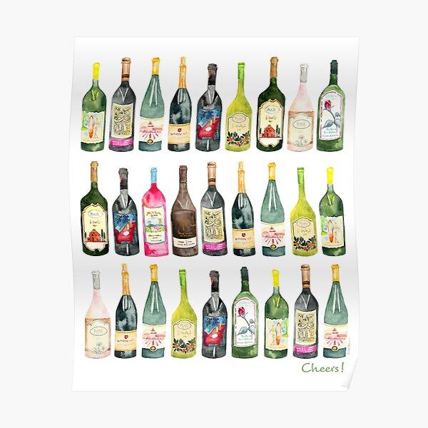 Cheers Wine Bottles  Poster