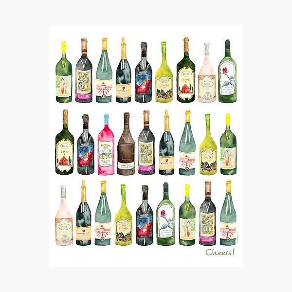 Cheers Wine Bottles  Photographic Print