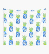 Pineapple Blues Wall Tapestry
