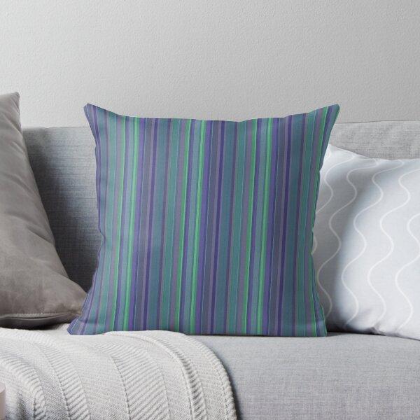 Sea Green Stripes Watercolor Throw Pillow