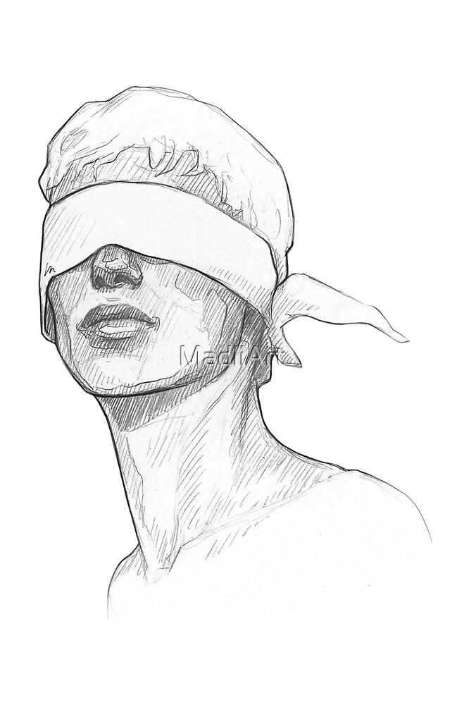 Guy with eyes covered - line art pencil sketch by MadliArt
