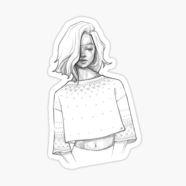 Iceland Girl - Monochromatic Pencil Line Sketch - Drawing by MadliArt Sticker