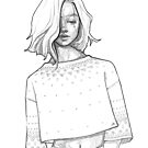 Pretty Iceland girl - line art pencil sketch by MadliArt